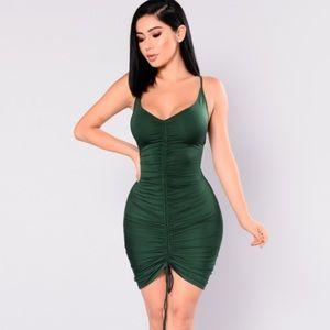 Ruched Dress - Hunter Green